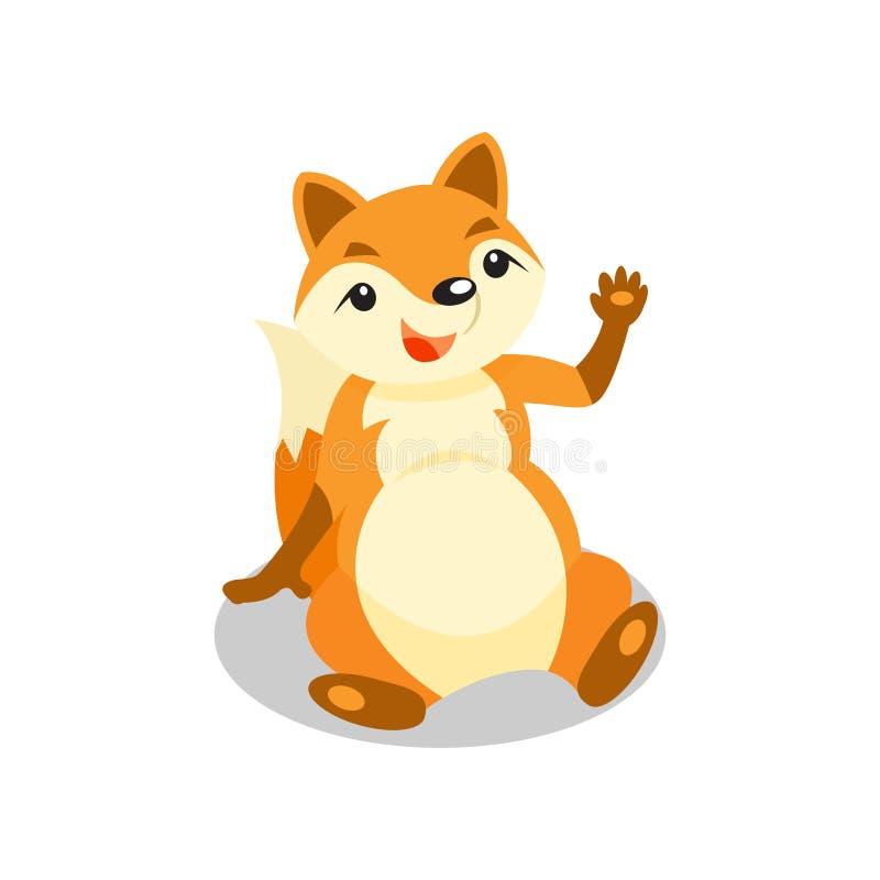 Śliczny mały lisa obsiadanie na falowaniu i podłoga jego łapa, śmiesznego ciuci postać z kreskówki wektorowa ilustracja na bielu ilustracji