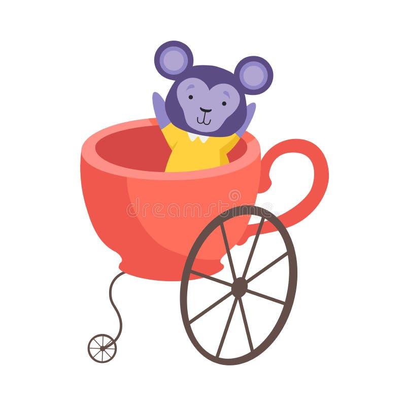 Śliczny Mały Małpi obsiadanie w trenerze Robić filiżanka, Śmieszny Uroczy zwierzę w Przewiezionej Wektorowej ilustracji royalty ilustracja