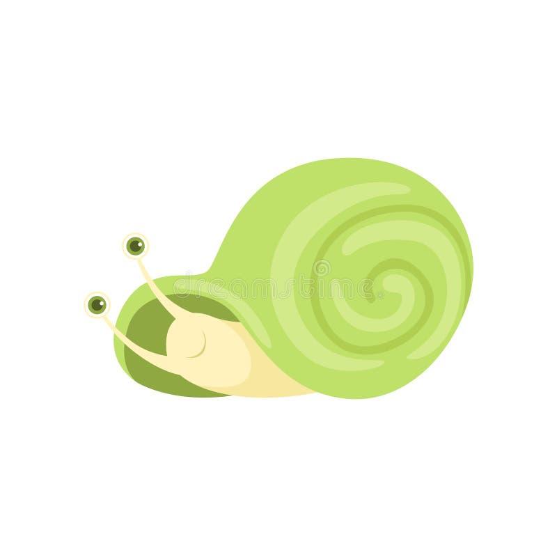 Śliczny mały ogrodowy ślimaczek z zielonej skorupy wektorową ilustracją na białym tle ilustracja wektor