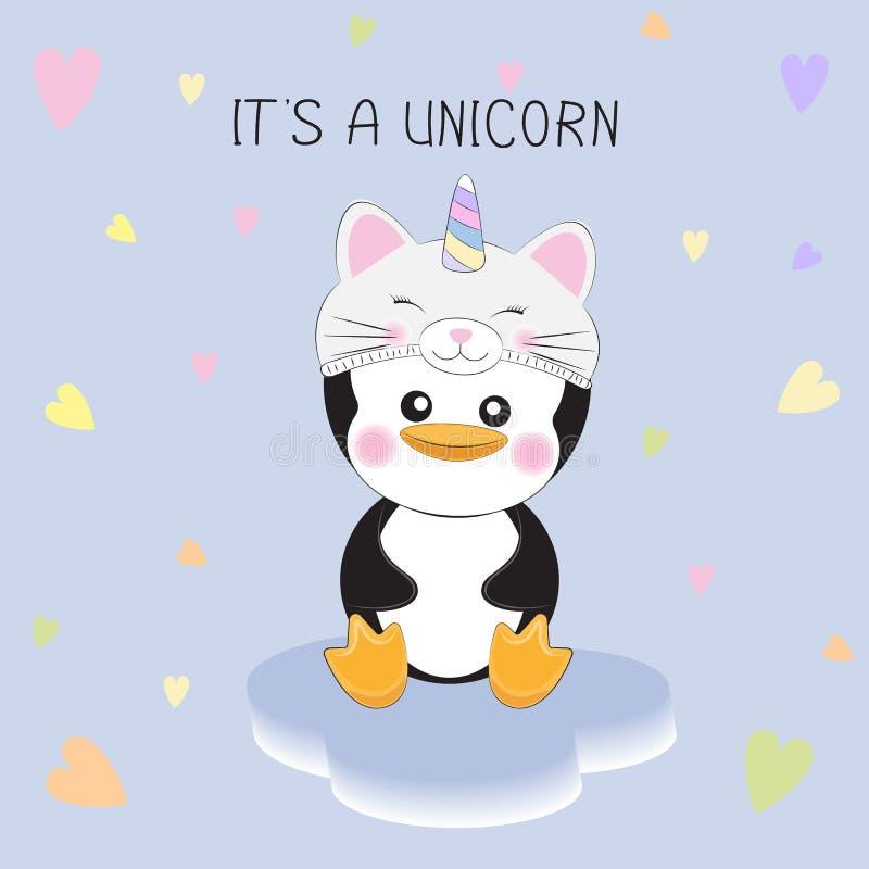 Śliczny mały pingwin w figlarki jednorożec kapeluszu na białym tle z sercami royalty ilustracja