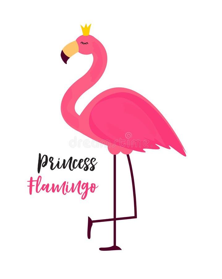 Śliczny Mały Princess Abstrakcjonistyczny tło z Różową flaminga wektoru ilustracją ilustracji