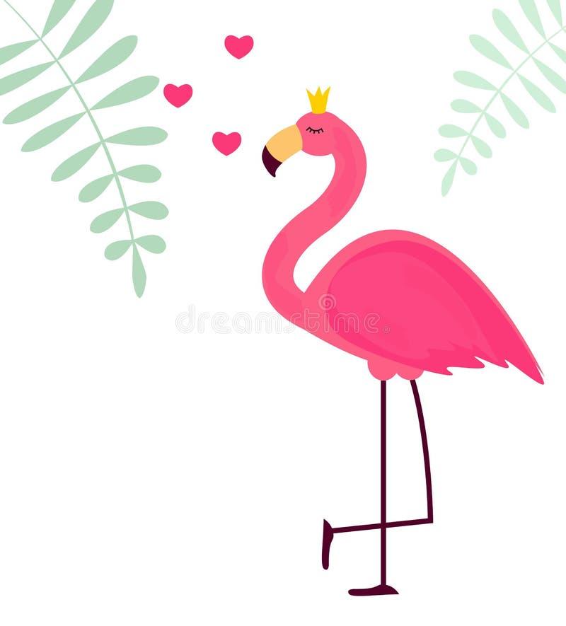 Śliczny Mały Princess Abstrakcjonistyczny tło z Różową flaminga wektoru ilustracją royalty ilustracja