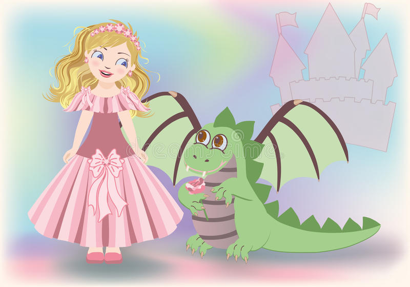 Śliczny mały princess i smok, Szczęśliwy święty Georg ilustracji