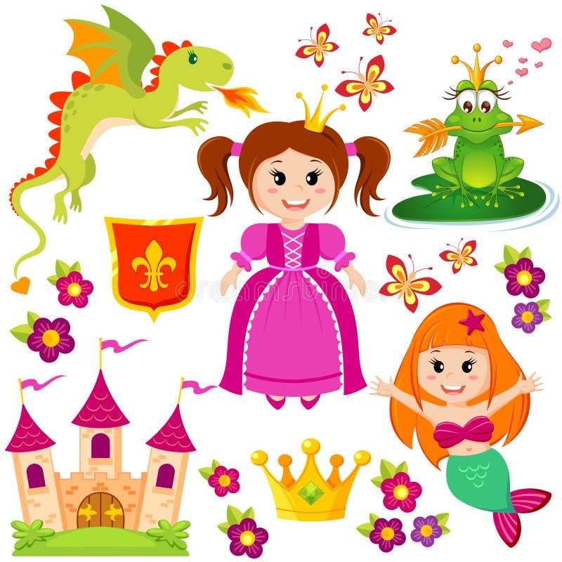 Śliczny mały princess, syrenka, bajki żaba, kasztel, smok, korona, osłona, kwiaty i motyle, royalty ilustracja