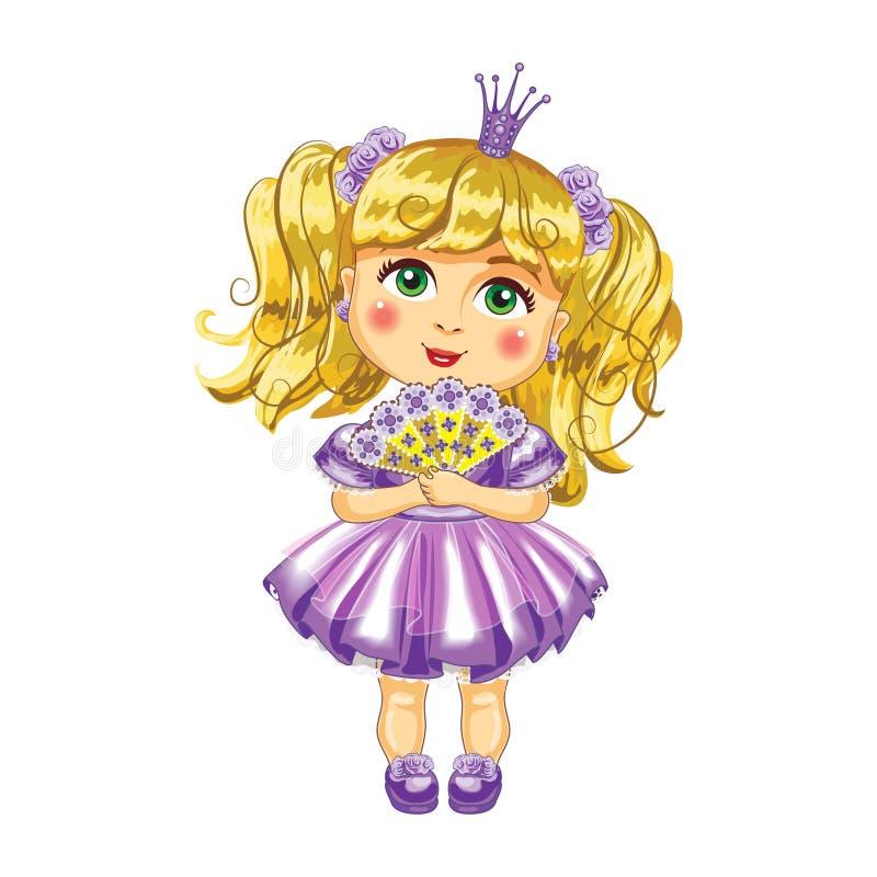 Śliczny mały princess w purpurowym smokingowym wektorze ilustracji