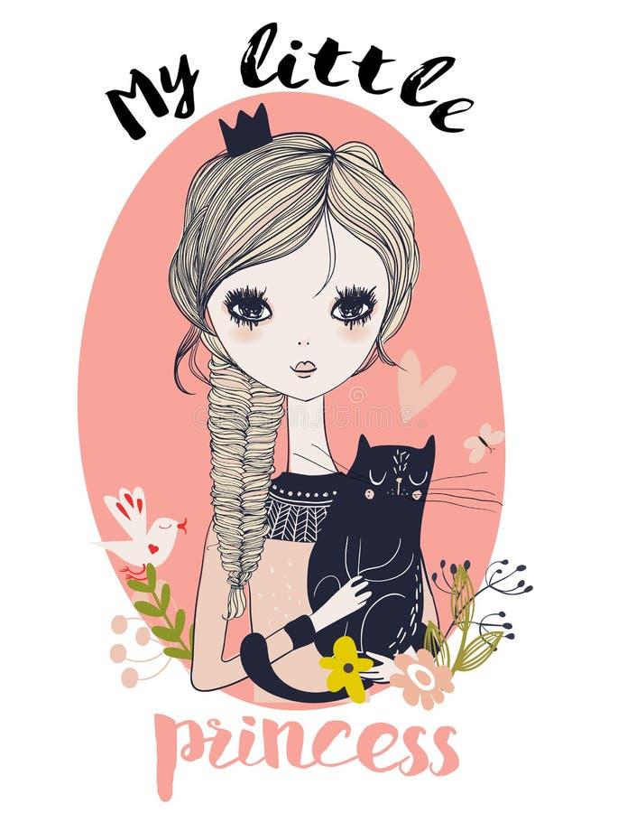 Śliczny mały princess z czarnym kotem ilustracja wektor