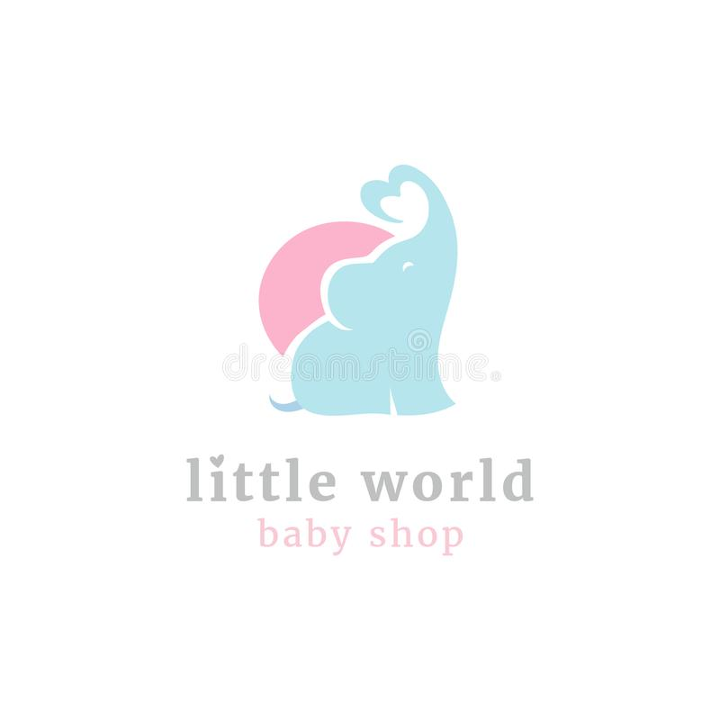 Śliczny mały słonia logo Dzieciak zabawki dziecka i sklepu towary przechują maskotki ilustracji