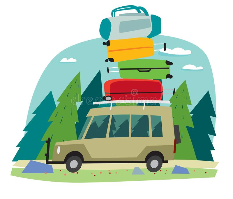Śliczny mały samochód niesie wiązkę plecaki i podróż zdojest w tajdze w lesie ilustracja wektor