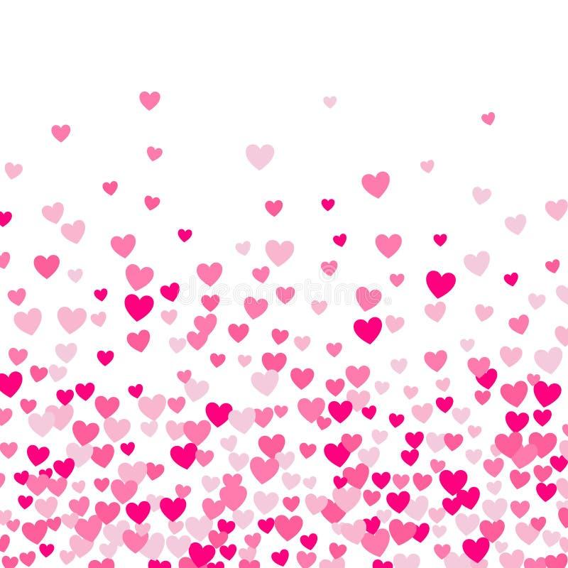 Śliczny mały serca tło, przypadkowy rozkaz, różny rozmiar i kolory, ilustracja wektor