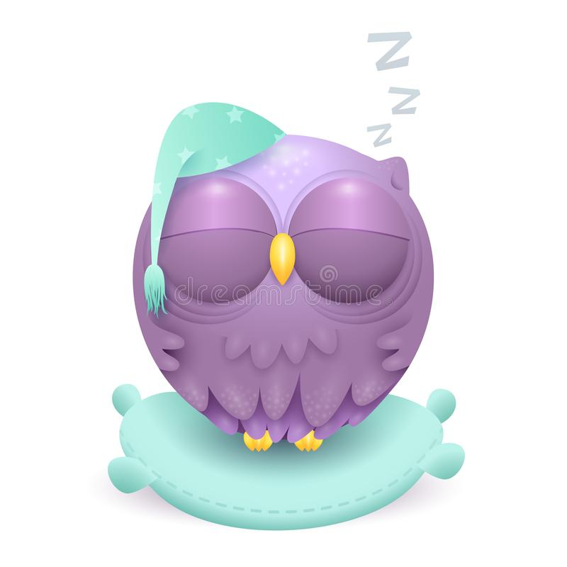 Śliczny mały sypialny sowa charakter na poduszce ilustracja wektor