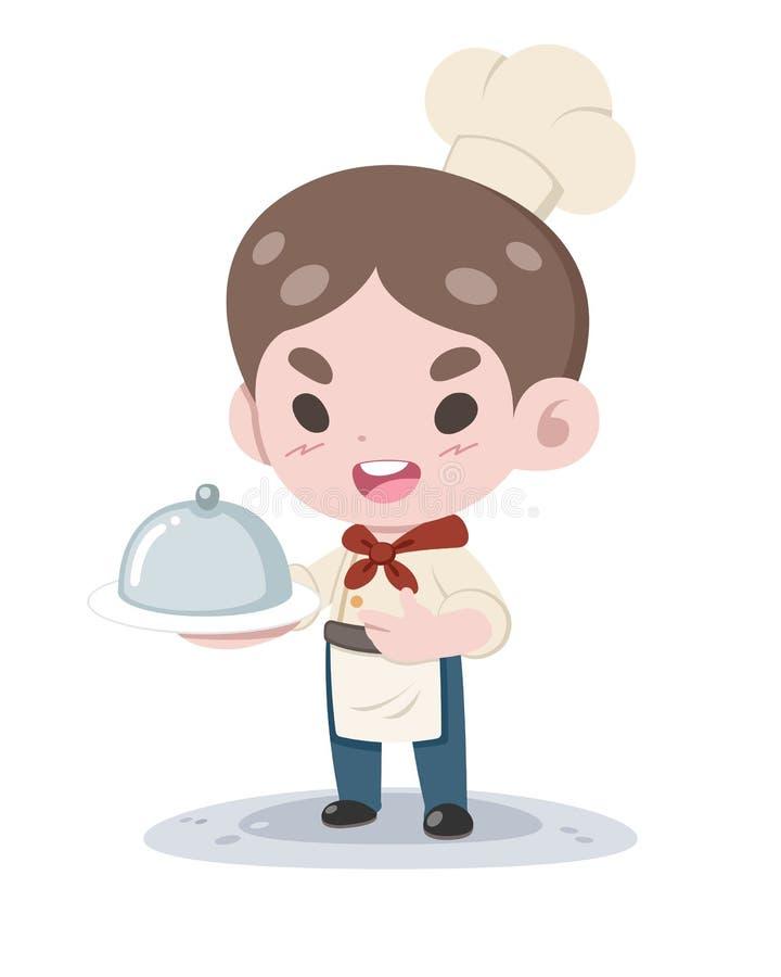 Śliczny mały szef kuchni z naczynie kreskówki ilustracją royalty ilustracja