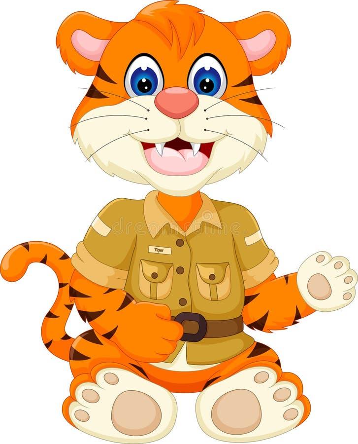 Śliczny mały tygrysi kreskówki obsiadanie z uśmiechem i falowaniem ilustracji