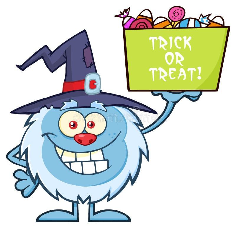 Śliczny Mały yeti charakter Trzyma Up Trikowego Lub fundy Halloweenowego cukierku kosz Z czarownica kapeluszem royalty ilustracja