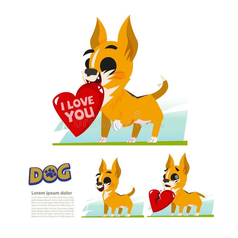 Śliczny malutki pies z dużym sercem łamany słucha miłość właściciela pojęcie - royalty ilustracja