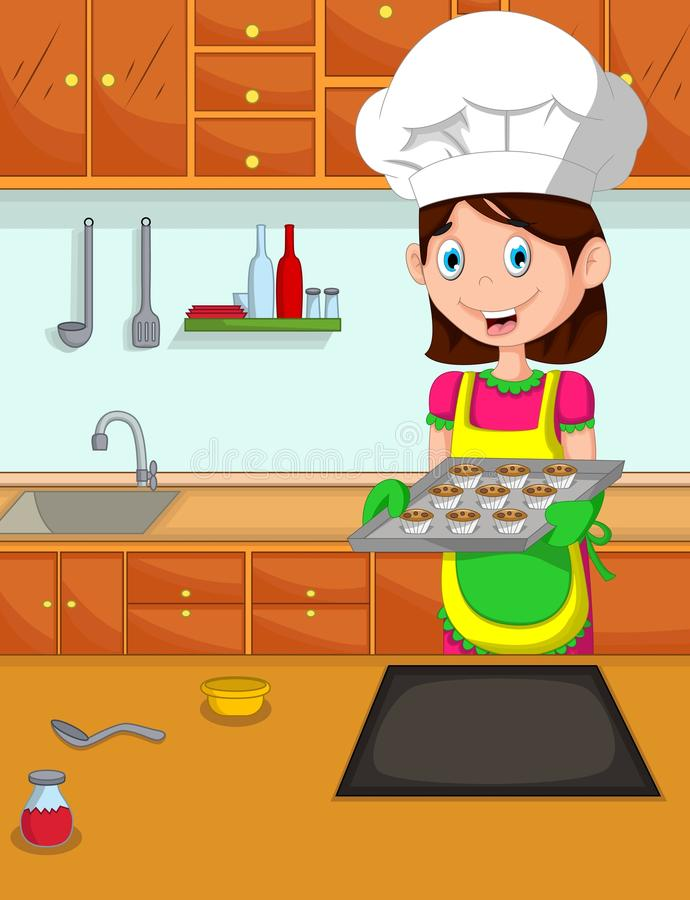 Śliczny mamy kreskówki kucharz w kuchni ilustracji