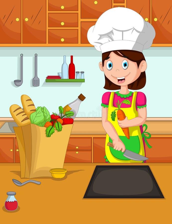 Śliczny mamy kreskówki kucharz w kuchni ilustracja wektor