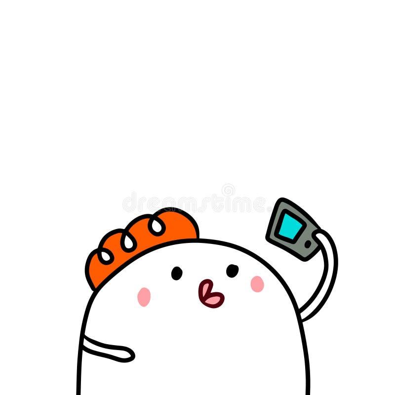 Śliczny marshmallow i smartphone wręczamy patroszonego ilustracyjnego kreskówka minimalizm robi selfie ilustracja wektor