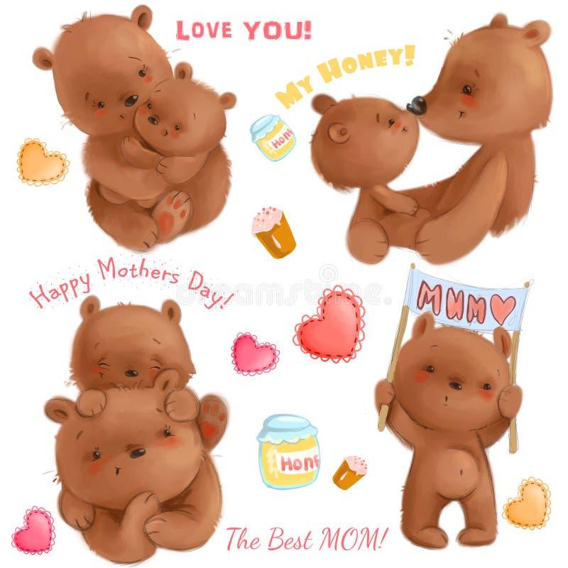 Śliczny matka dzień odizolowywał clipart z śmieszną niedźwiedź mamą i jej lisiątkami, serca, miód, torty Ja ` s o miłości Use dla ilustracji