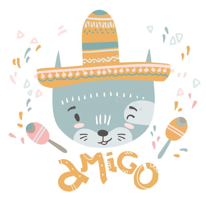 Śliczny meksykański dziecko kot Ręka rysująca wektorowa ilustracja Dla dzieciaka ilustracja wektor