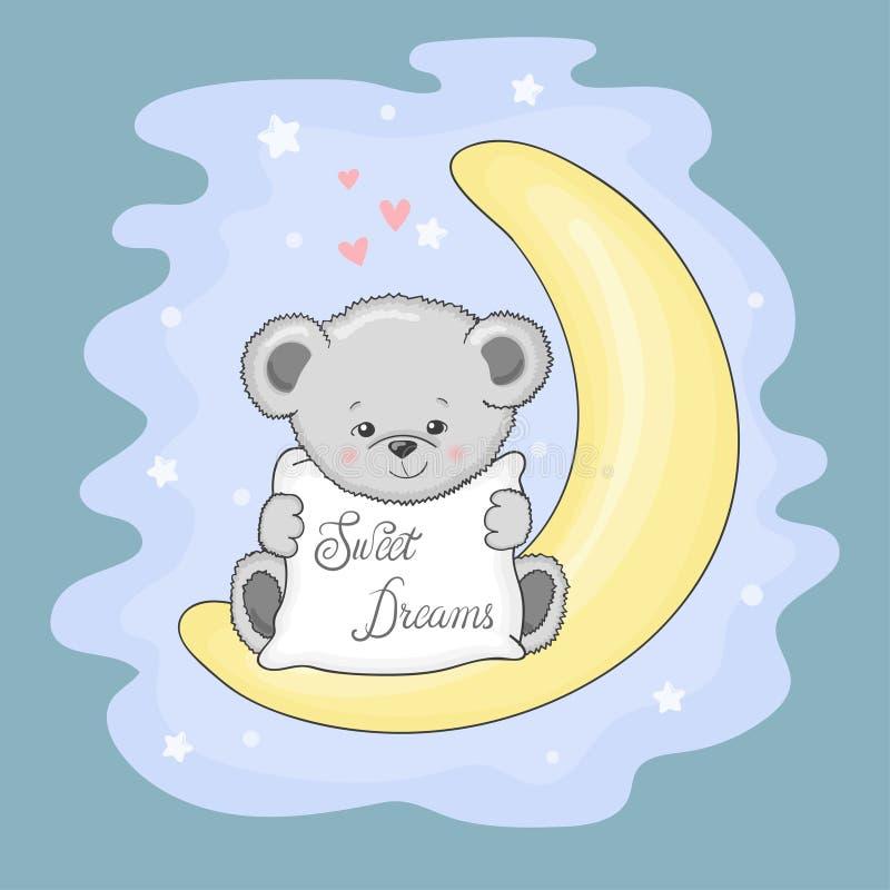 Śliczny miś na księżyc słodki sen ilustracja wektor