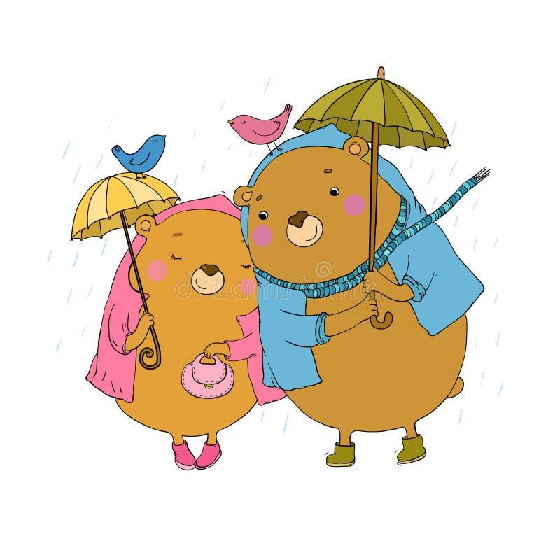Śliczny miś pod parasolem ilustracja wektor