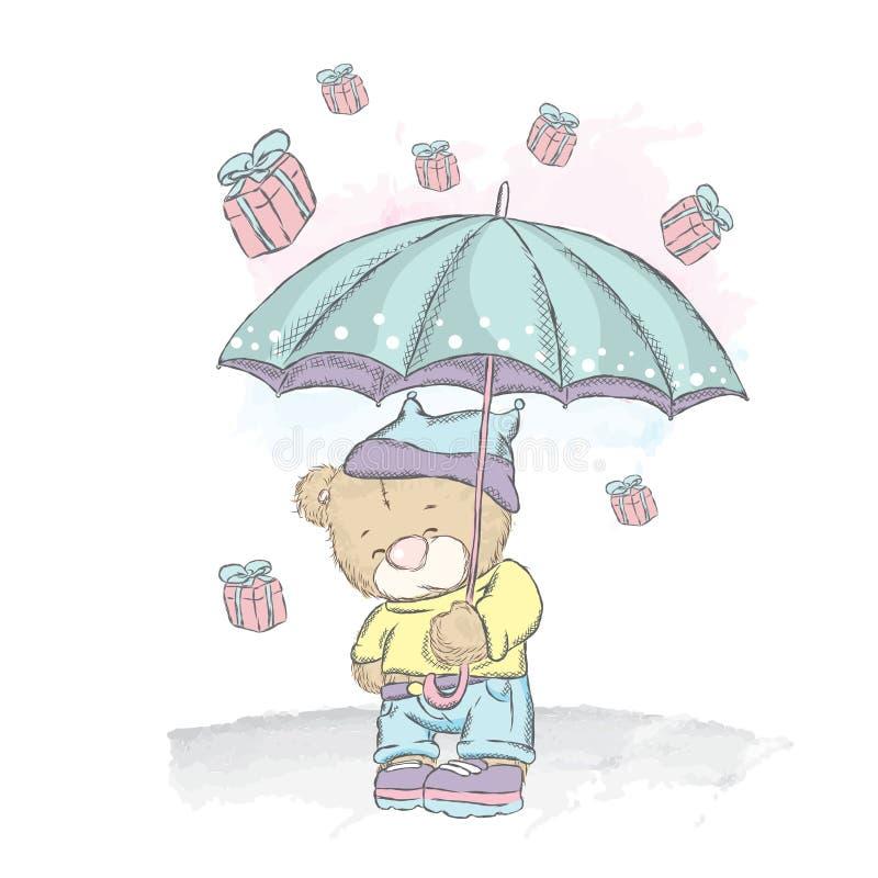 Śliczny miś pod parasolem Podeszczowi prezenty Wektorowa ilustracja dla plakata lub karty Druk na odziewa ilustracji