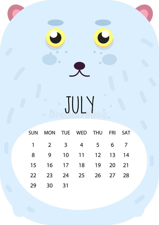 Śliczny miesiąca kalendarza projekt dla 2018 rok bigos A4 format wektor royalty ilustracja
