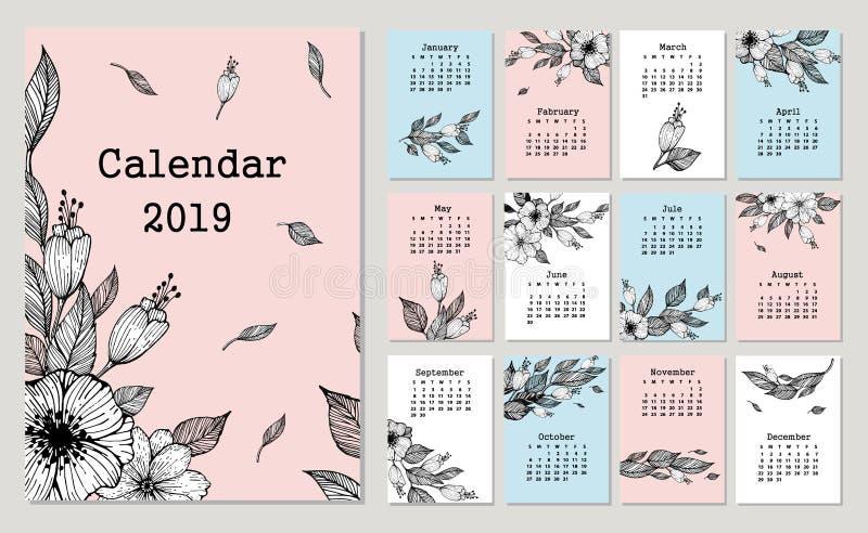 Śliczny miesięcznika kalendarz 2019 z kwiatami i liściem ilustracji
