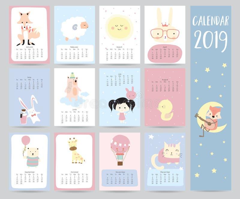 Śliczny miesięcznika kalendarz 2019 z lisem, cakiel, księżyc, królik, dziewczyna, niedźwiedź royalty ilustracja