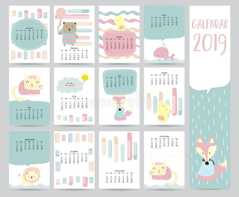 Śliczny miesięcznika kalendarz 2019 z niedźwiedziem, kotem, lisem, wielorybem, kotem i lwem, royalty ilustracja