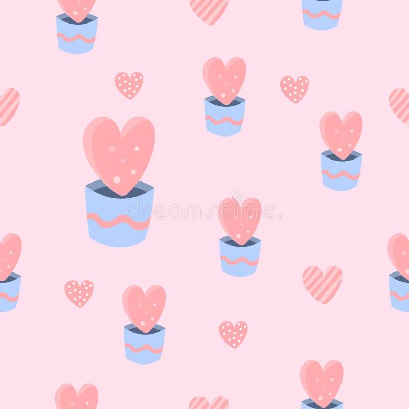 Śliczny mini serce w garnka bezszwowym deseniowym tle ilustracji