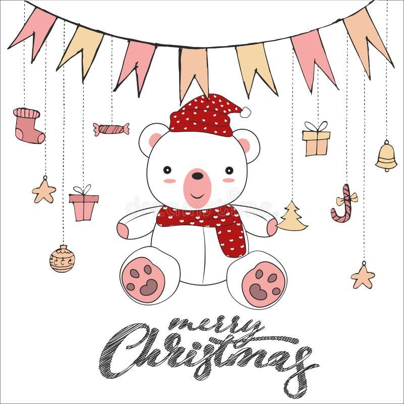 Śliczny misia doodle odizolowywający na białym tle dla wesoło kartka bożonarodzeniowa wektoru ilustracji