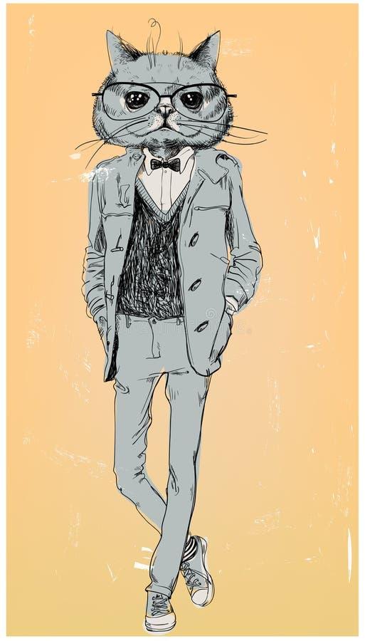 Śliczny moda modnisia kot ilustracja wektor