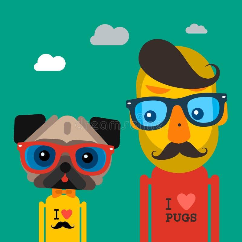 Śliczny moda modnisia mężczyzna i mopsa psa zwierzę domowe ilustracja wektor
