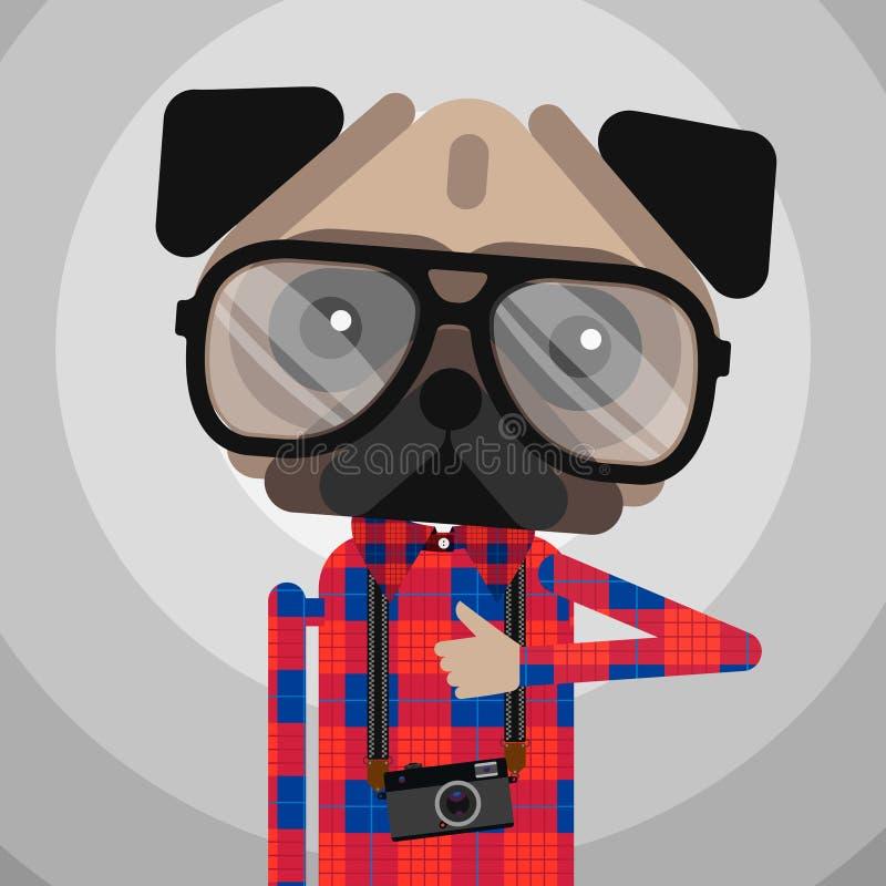 Śliczny moda modnisia mopsa psa zwierzę domowe ilustracja wektor
