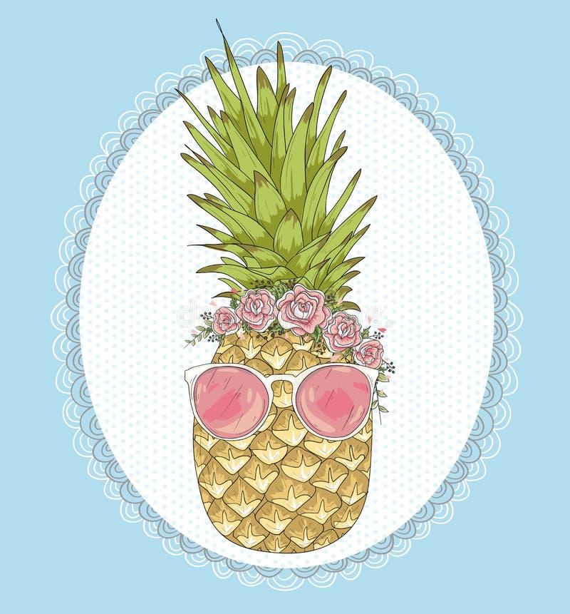 Śliczny modnisia ananas z okularami przeciwsłonecznymi i kwiatami royalty ilustracja