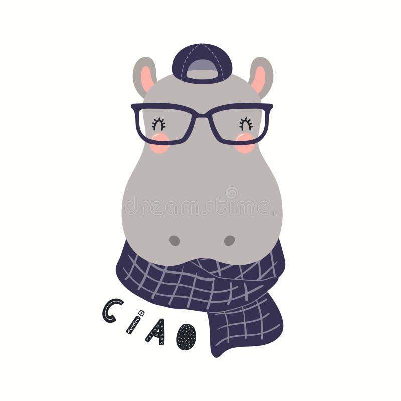 Śliczny modnisia hipopotam ilustracja wektor