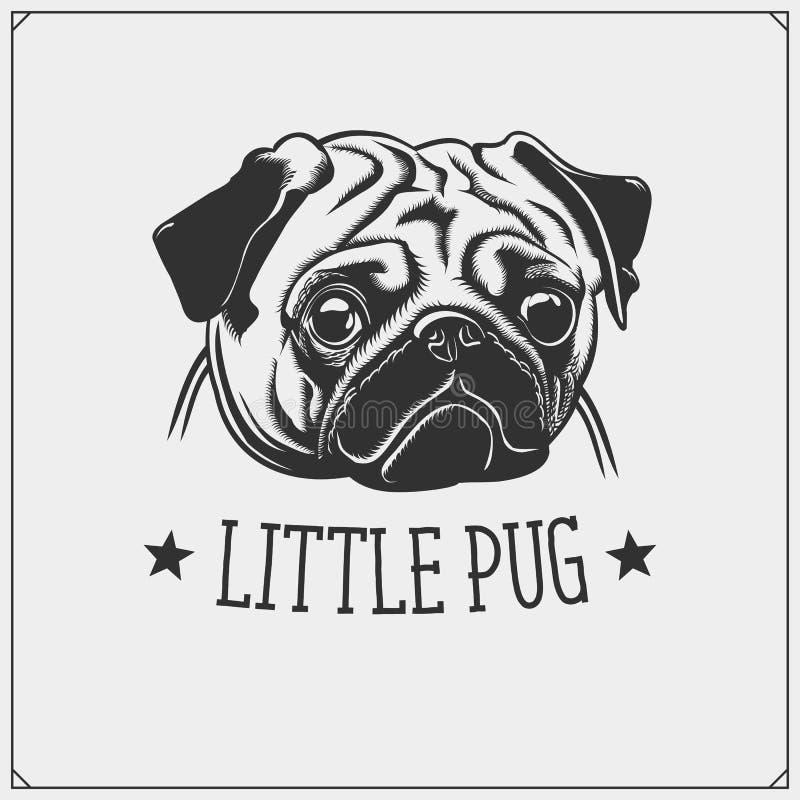 Śliczny mopsa psa portret Emblemat dla zwierzę domowe sklepu Druku projekt dla koszulek royalty ilustracja