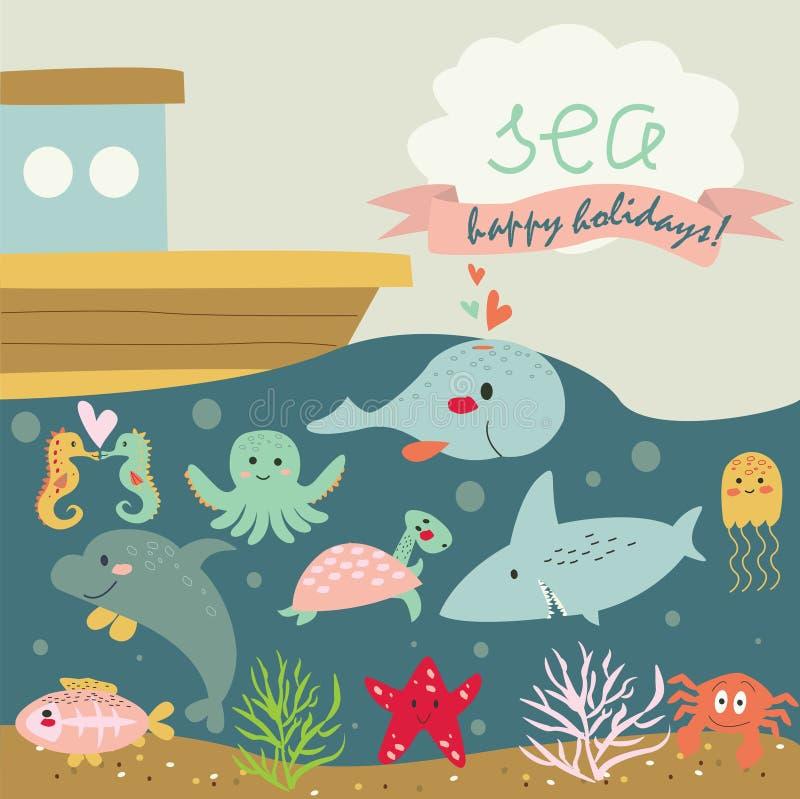 Śliczny morski tło ilustracja wektor