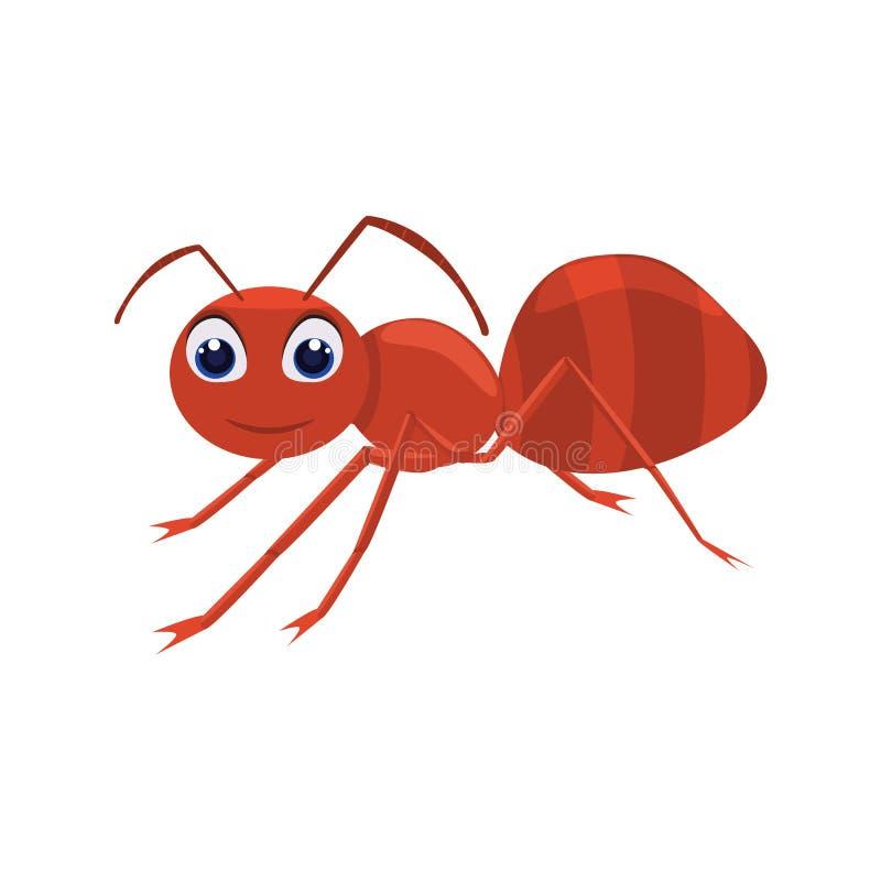 Śliczny mrówka charakter z kreskówka stylem Bryła i płaski koloru stylu projekt royalty ilustracja
