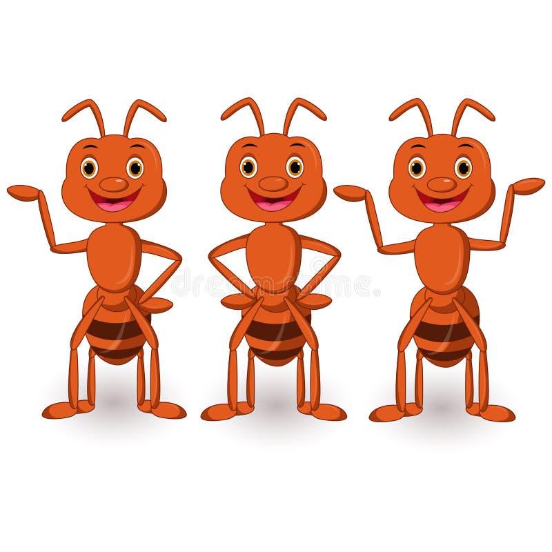 Śliczny mrówki kreskówki kolekci set ilustracja wektor