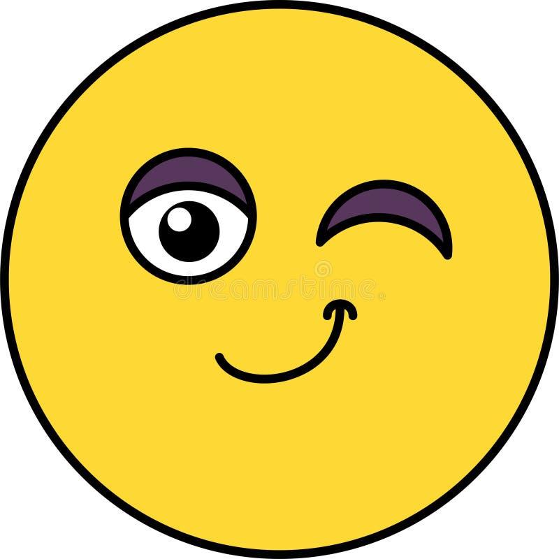 Śliczny, mrugnięcia emoji wektoru ilustracja ilustracja wektor