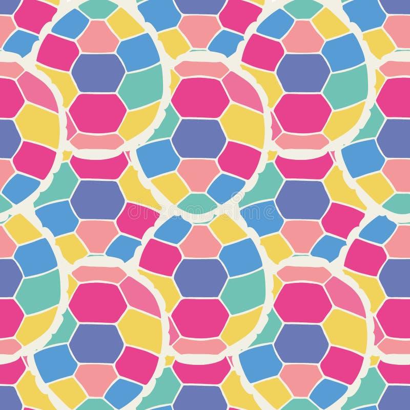 Śliczny multicolor bezszwowy wzór stylizowani żółwie w kreskówka stylu royalty ilustracja
