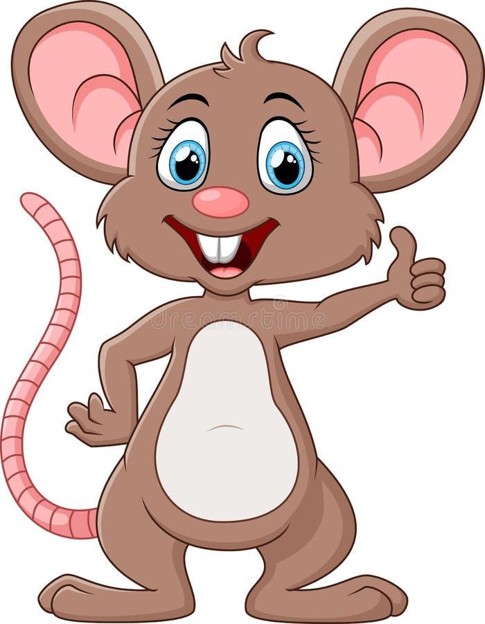 Śliczny myszy kreskówki kciuk up royalty ilustracja