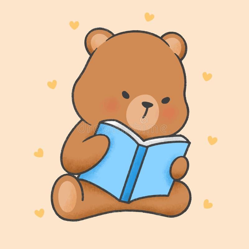 Śliczny niedźwiadkowy czytanie książkowa ręka rysujący kreskówka styl ilustracja wektor