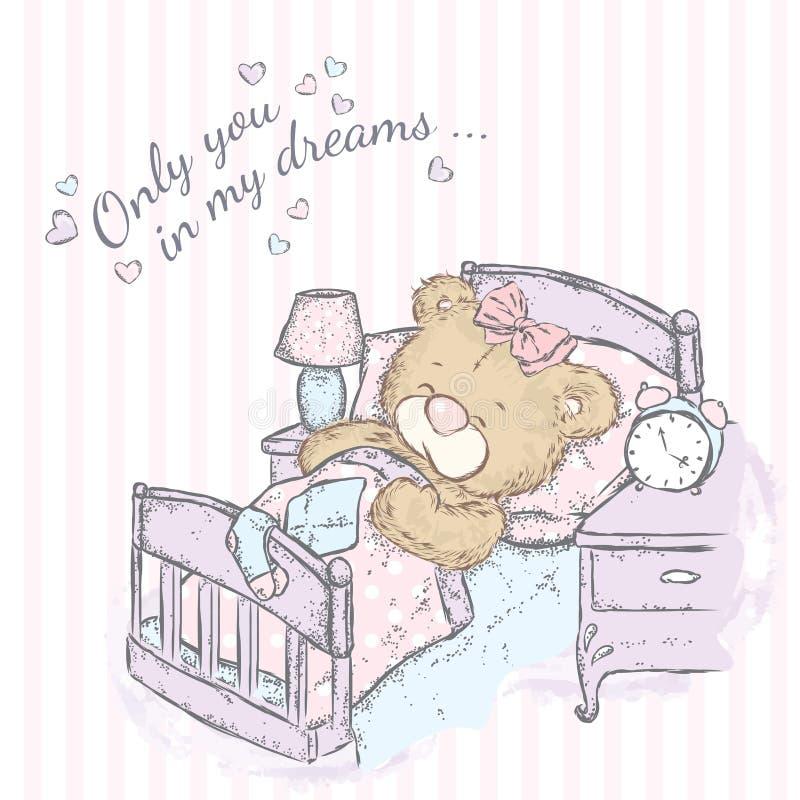 Śliczny niedźwiadkowy dosypianie w łóżku royalty ilustracja