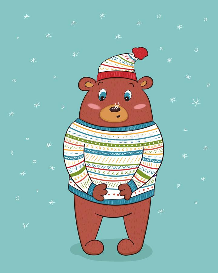 Śliczny niedźwiedź brunatny w trykotowym pulowerze i kapeluszu z ornamentem najpierw ilustracji
