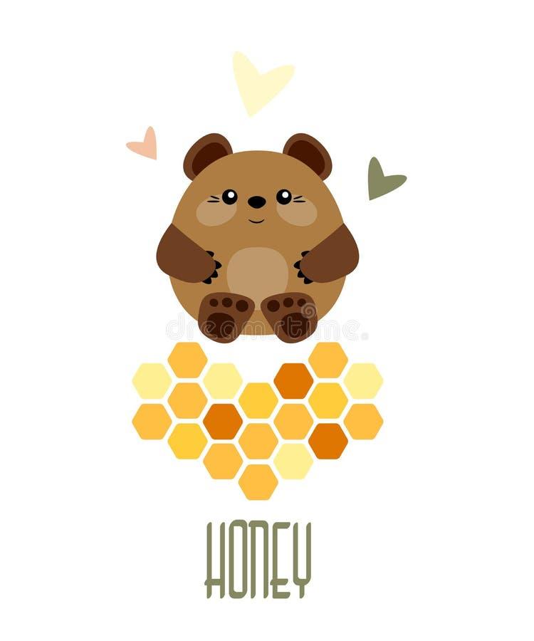Śliczny niedźwiedź, miód grępla i inskrypcja, ilustracja wektor