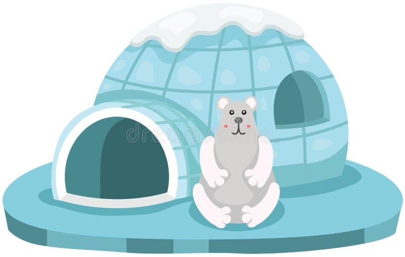 Śliczny niedźwiedź polarny siedzi przed igloo royalty ilustracja