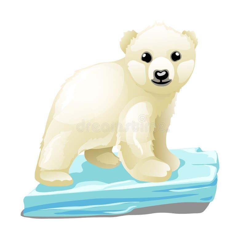 Śliczny niedźwiedź polarny unosi się na dryfującym lodowym floe odizolowywającym na białym tle również zwrócić corel ilustracji w ilustracja wektor